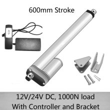 Waterproof dc electric linear actuator 24inch/600mm stroke, 1000N/100kgs load  with controller and mounting bracket