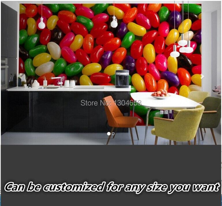 Free shipping custom modern living room sofa kitchen corridor 3D large mural background wallpaper Jelly Beans Wallpaper Mural<br>