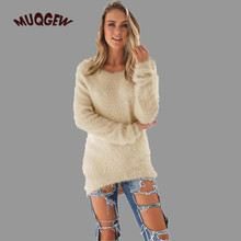 Fluffy long-sleeved sweater Womens Casual Solid Long Sleeve Jumper Sweaters Blouse knitted sweater dress women #GH30