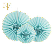 Nicro 3pcs/lot Gold foil side Blue Flower Paper Fan Tissue Crafts Decor Wedding Birthday Party Home Decor Supplie Paper Fan(China)