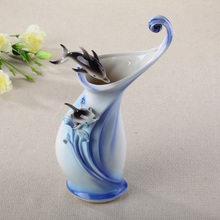 ceramic dolphin flowers vase designs home decor large floor vases for wedding decoration ceramic handicraft porcelain figurines(China)