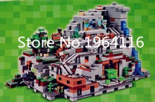 NEW 18032 my world series The Mountain Cave model Building Blocks set compatible 21137 Classic Architecture toy for children(China)