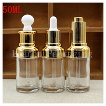 50ml High Clear Glass Liquid Bottle oil Press The Rubber Head Dropper Essence Lotion Packing Bottle With Golden Aluminum Cover