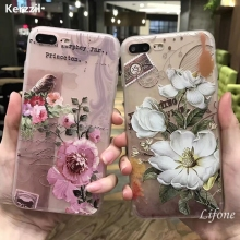 Kerzzil 3D Relief Peach Lace Roses Flowers Phone Case For iPhone 6 6S 7 Plus Floral Cartoon Soft TPU Back Cover For iPhone 7