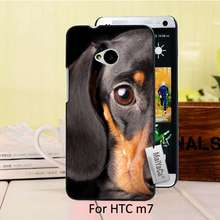 Hot Printed Cool phone Accessories For case HTC One M7  Dachshund Love My Dog puppy