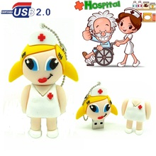 real capacity cartoon Sexy nurse usb flash drive cute white lady pendrive memory pen drive usb 2.0 4GB 8GB 16GB 32GB metal chain(China)