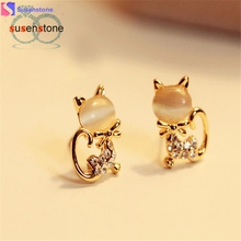 SUSENSTONE 2016 New Fashion Korean Fashion Cute Cat Stone Crystal Rhinestone Women Stud Earrings Stud Earrings Fashion Jewelry(China)