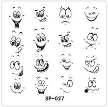 Happy Smile Face Cartoon Mows Nail Art Stamping Template Eyes Open Designed Metal Image Plate SP-027
