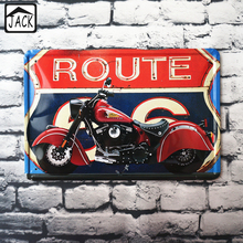 Route66 Motorcycle 20x30cm Retro Poster Metal Tin Signs Iron Plaque Art Printed Advertising Paintings Shop Bar Garage Wall Decor