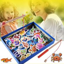 Wooden Fishing Game Kid Soft Montessori 3D Fish Animal toys Children\'s gift Early Educational Toy Baby Gift(China)