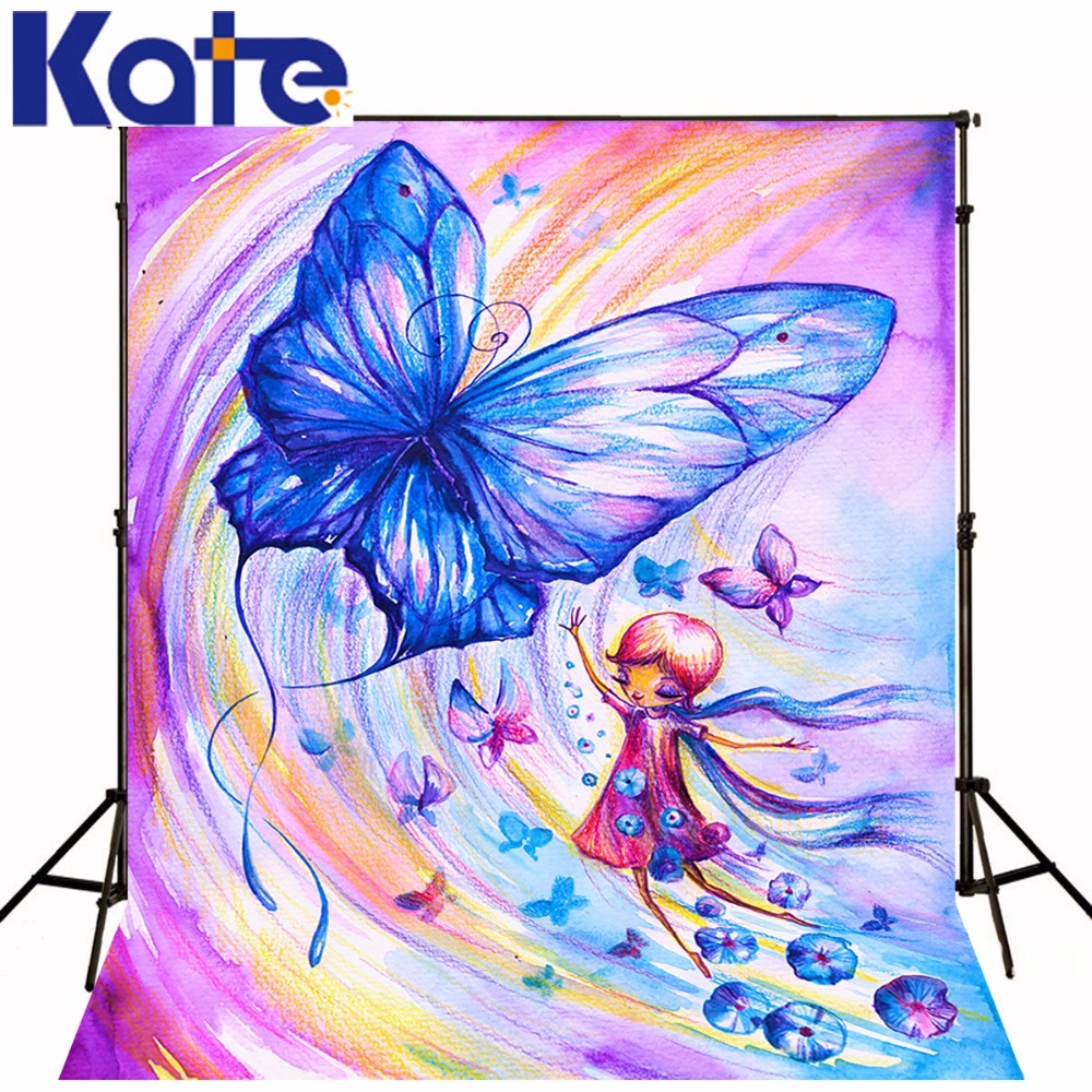 Kate 10X10FT Dream Color Butterfly Fairy Princess Photography Background Children Girl Washable Photo Studio Background Painting<br>