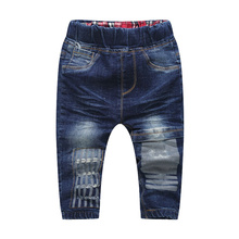 Classic Kids Jeans Fashion Striped Boy Jeans Regular Elastic Waist Denim Pants Toddler Navy Blue Jeans Autumn Baby Kids Trousers(China)
