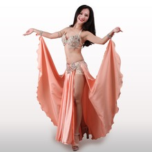 2017 New Performance Dancewear Bellydance Clothes Outfit C/D Cup Maxi Skirt Professional Women Egyptian Belly Dance Costume Set(China)
