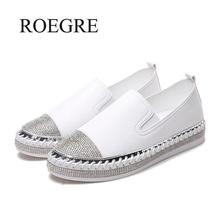 Ladies Loafers Flats Moccasins Espadrilles-Shoes Creepers Patchwork White Woman Famous-Brand