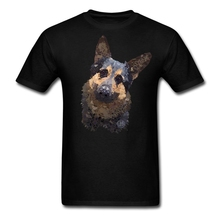 XS-3XL Men T Shirts German Shepherd Abstract Youth Tshirt 100% Cotton Top Short Sleeve Oversize T Shirt Teenage Class Clothes(China)