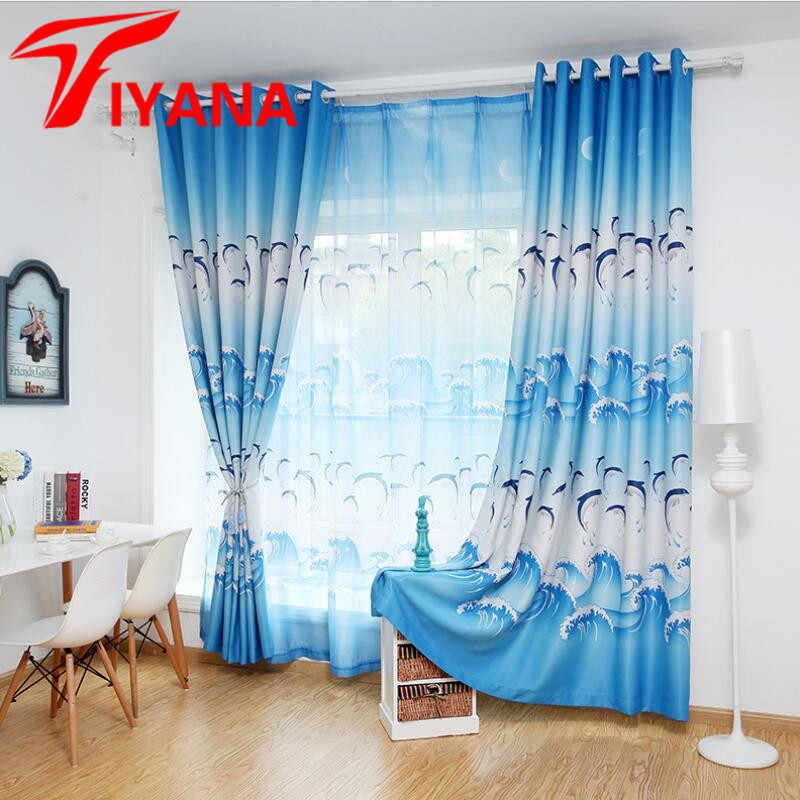 Tiyana Cartoon Blue Dolphin Curtains For Living Room Blackout Cloth Purple Tulle Curtais For Boys Girls Kids Bedroom HP067Z30