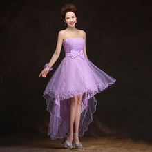 beautiful elegant high low formal lavender short front knee length cocktail dinner dress short dresses 2017 free shipping S3196