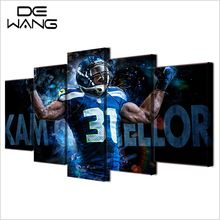5 Paintings On The Walls Canvas Art Print Painting Seattle Seahawks Basketball Rugby Picture Ball ModularPoster For Kids Room