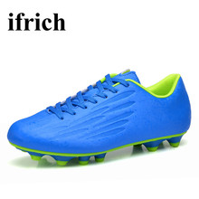 Ifrich Athletics Spikes Soccer Shoes Blue/Orange/Green Football Cleats Boots Men Children Training Football Cleats Cheap(China)