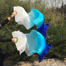 Free shipping belly dance Fan Veils colorful 100% silk fan Veil 3 colors White/Turquoise/Blue(China)