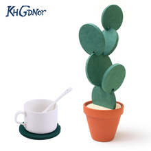 Creative Coaster Mat Cactus Potted Plants Shape Cup Mat Heat Insulation Pad Table Decoration Kitchen Accessories(China)