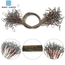 Easy Catch 50pcs Brown Uncoated Stainless Steel Fishing Line Wire Leaders 15cm 20cm 25cm Trace Fishing Steel Wire Test 12kg/26lb(China)