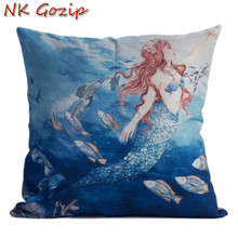 NK Gozip Cotton Linen Sea-maid Cushion Covers Modern Warmth Home Decorative Art Throw Pillow Case For Pillow Storage Bag(China)