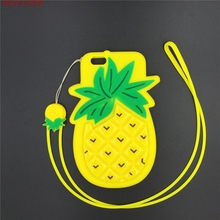 3D Cartoon Pineapple Ananas Fruit Phone Case with Pendant Soft Silicone Back Cover for Apple iPhone 6 6s 7 7plus Plus