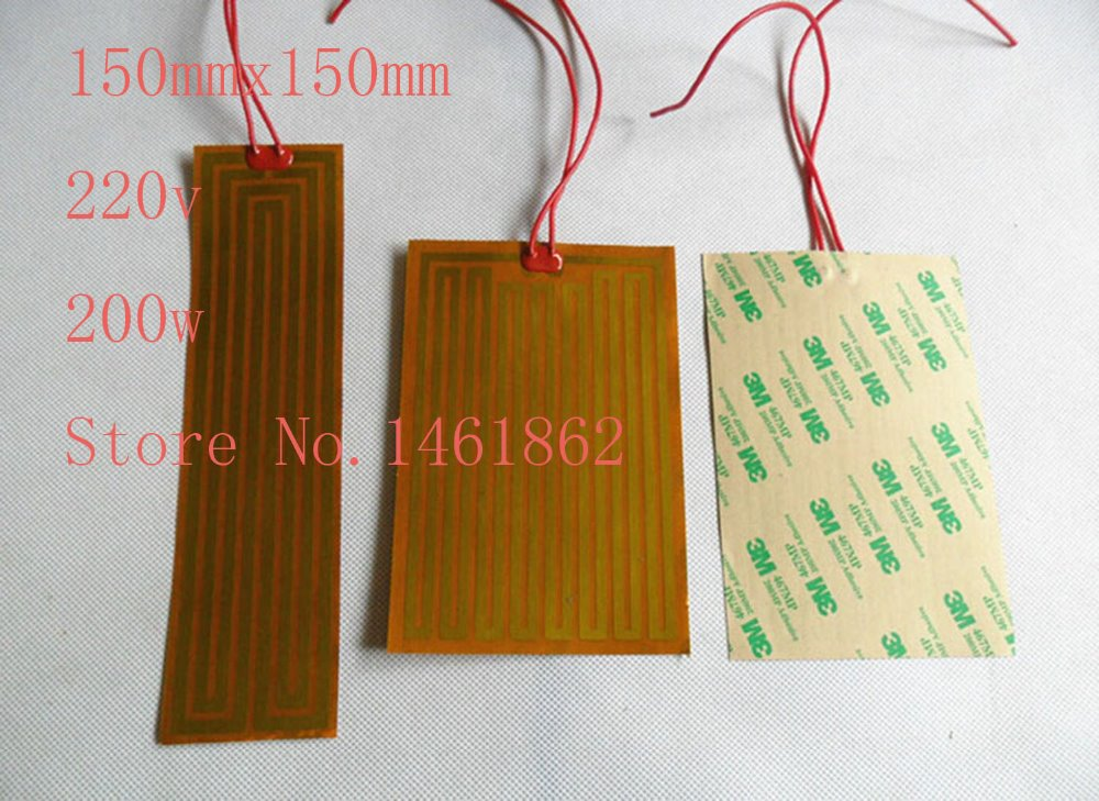 150mmx150mm 220v 200w element heating PI film polyimide heater heat rubber electric flexible heated bad heating pad Industrial<br>
