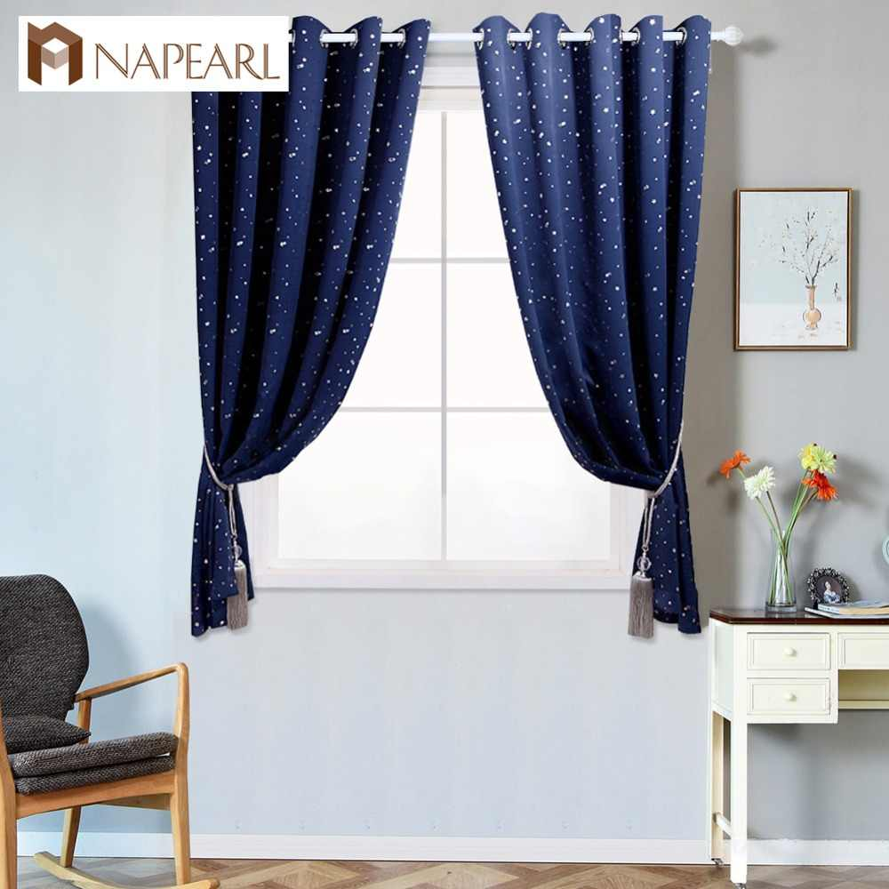 NAPEARL 1 Piece Short blackout curtains stars design treatment high shading kid bedroom child panel draper blue window curtains