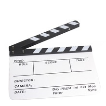 25x30cm Acrylic Plastic Dry Erase Director  Video Scene Film clapboard (9.85x11.8 inch) with White/Black sticks 2015 NEW