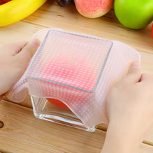 4 pcs seal vacuum food magic wrap multifunctional food fresh keeping plastic wrap Silicone Transparent Re-usable Food Wraps New