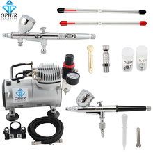 OPHIR 2 Double Action Airbrush Kit with Air Compressor for Model Hobby Temporary Tattoo Air Brush Spray Gun_AC089+AC004+AC070(China)
