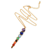 H:HYDE 8mm/6mm Beads Necklace Women 7 Chakra Multicolor For Wisdom Natural Stone Yoga Meditation Necklace,Christmas Gifts