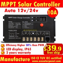 German Quality MPPT 10A Solar Charge Controller solar panel battery regulator LED display solar controller 12v/24v auto 10A mppt