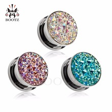 Kubooz piercing jewelry ear tunnels body jewelry ear plugs stainless steel silver expander wholesale free shipping(China)