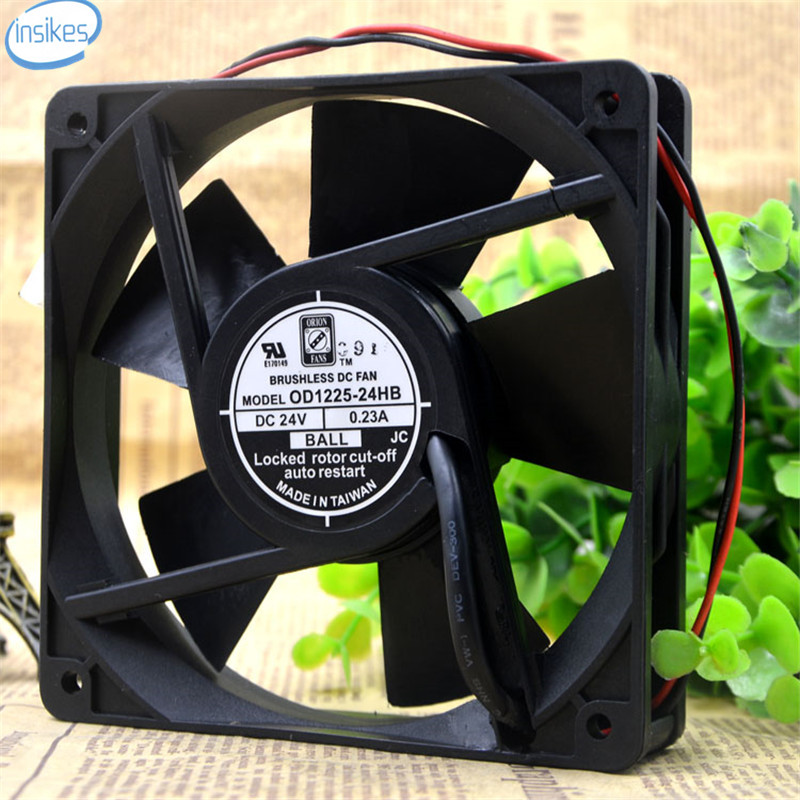OD1225-24HB Inverter Mute Cooling Fan DC 24V 0.23A 12025 12CM 120*120*25mm 2 Wires <br>