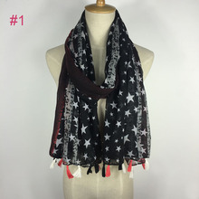 Popular fashionable ladies viscose star print scarf wholesale