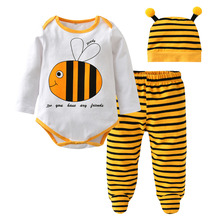 Autumn Baby Boy Clothes Newborn Cartoon Bee Printed Romper+Stripe Pants+Cap Infant Girl Clothing Set Toddler 3pcs Suit(China)