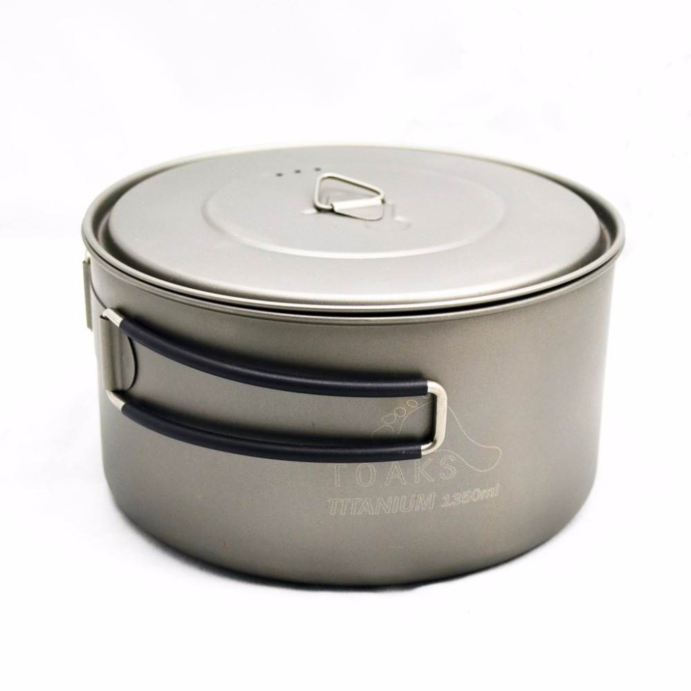 TOAKS POT-1350 Ultralight Titanium 1350ml Pot with Bail Handle Outdoor Camping Tableware <br><br>Aliexpress