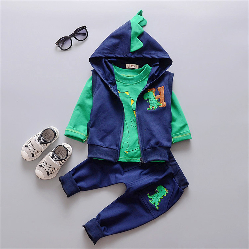 Baby boys clothing sets hooded newborn baby clothes cotton long sleeve 3pcs/set kids clothes cartoon sport suit girls costumes<br><br>Aliexpress