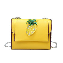 PACGOTH 2017 Autumn and Winter New Trend PU Leather Shoulder Bags Women's Gen Stone Pineapple Pic Messenger All Match Flap 1 PC(China)