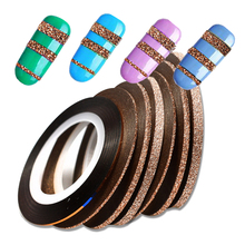 2017 NEW 4pcs/lot Cinnamon Laser Glitter Striping Tape Rolls Nail Art Decoration Sticker 1-3mm DIY Manicure Line Tips BEND299(China)