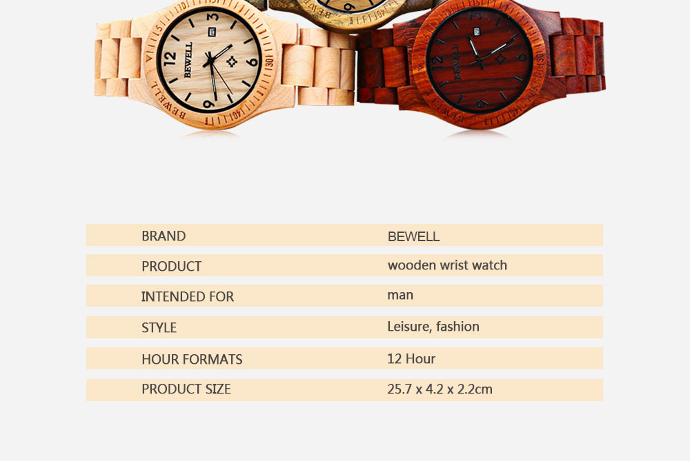 2017 BigBen Bewell Luxury Brand Wood Watch Men Analog Natural Quartz Movement Date Male Wristwatches Clock Relogio Masculino (10)