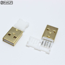 10pcs USB Male Plug Connector With White Folding shell Gold Plated Welding Type Charging Date Line DIY Plugs(China)