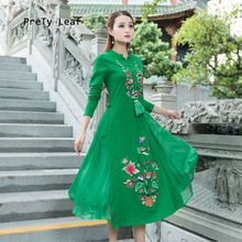 National wind 2017 autumn women's small V-collar fake two long-sleeved embroidery dress