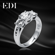 EDI Moissanite Diamond Engagement White Gold Ring 14K 585 Gold 1ct Round Brilliant Fire DEF Color Moissanite Ring For Women(China)