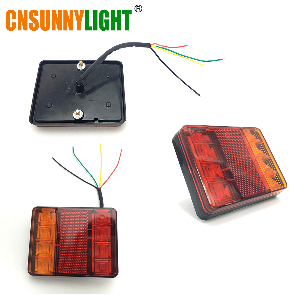 CNSUNNYLIGHT Car Truck Rear Tail Light Warning Lights Rear Lamps Waterproof Tailight Rear Parts for Trailer Caravans DC 12V 24V (4)