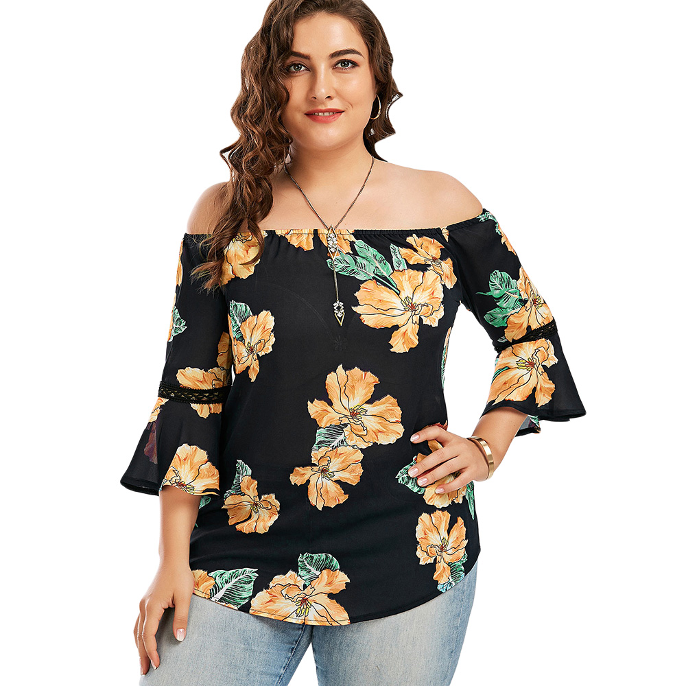 d44f9ccd844 Aliexpress.com   Buy Wipalo Plus Size 5XL Floral Chiffon Off The Shoulder  Hawaiian Blouse Summer 2018 Blusas Sexy Flare Sleeve Boho Beach Tops Blouse  from ...