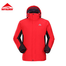 ROYALWAY Men Spring Outdoor Quick Dry Hiking Softshell Jacket Breathable Front Zipper Hooded Windproof Fishing Coat#ROM5347D
